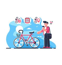 bike sharing system station on city street vector image
