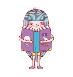 book day little girl hug book isolated design vector image