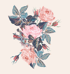 Botanical vintage pink rose vector