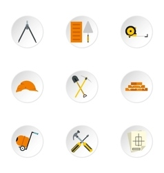 Building tools icons set flat style vector image