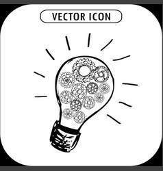 bulb with gears icon vector image