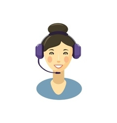 Call center smiling operator with headset icon vector image