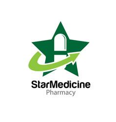 Capsule medicine star logo designs solutions vector