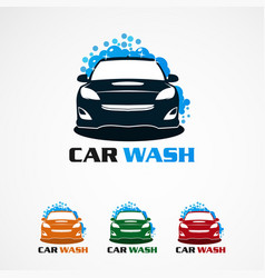 Car wash with bubble blue logo icon element and vector