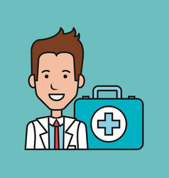 cartoon doctor man with kit first aid medical vector image