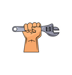 cartoon man hand holding adjustable wrench vector image