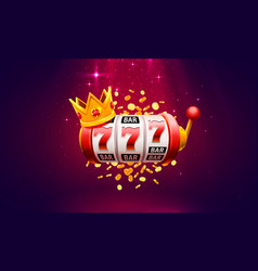 Casino 777 slot label winner banner signboard vector