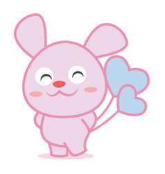 character rabbit with balloon collection vector image