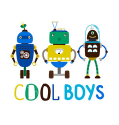 Cool boys robot t-shirt design vector