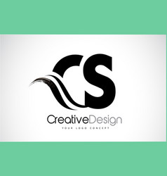 Cs c s creative brush black letters design with vector