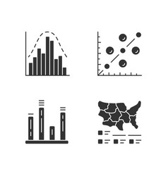Diagrams glyph icons set histogram bar graph vector