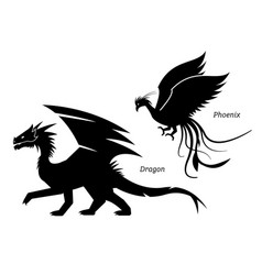 dragon and phoenix side view pictograph vector image