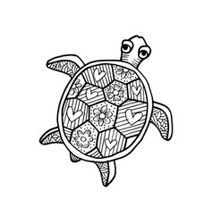 Drawing decorative turtle coloring book vector
