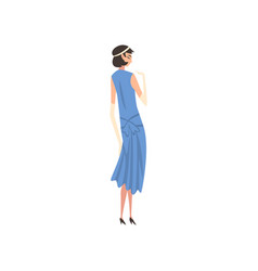 Elegant woman in blue retro dress and white gloves vector