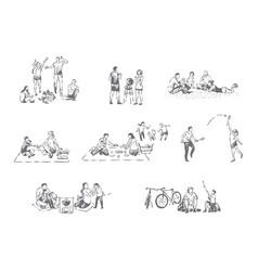 family outdoor recreation concept sketch vector image