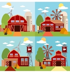Farm in the village flat Landscape Natural vector image