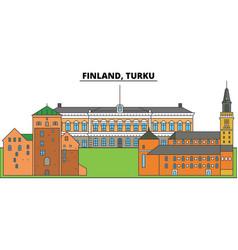 Finland turku city skyline architecture vector