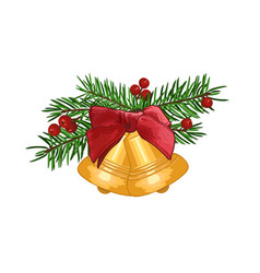 fir branches with bell and red bow isolated vector image