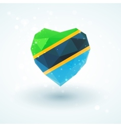 Flag of Tanzania in shape diamond glass heart vector