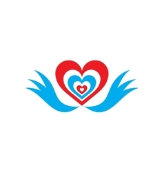 Flat web icon on white background heart wings vector