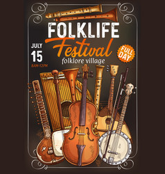 Folk music festival poster with musical instrument vector
