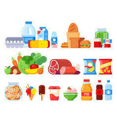 Food products packed cooking product supermarket vector