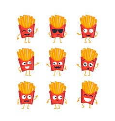 french fries - set of mascot vector image