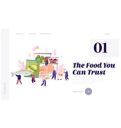 Frozen food website landing page characters vector