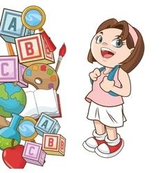 Girl cartoon of back to school design vector