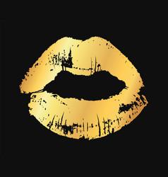 gold lips golden metallic glamour lipstick kiss vector image