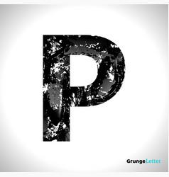 grunge letter p black font sketch style symbol vector image