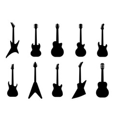 guitar silhouettes acoustic and heavy rock vector image