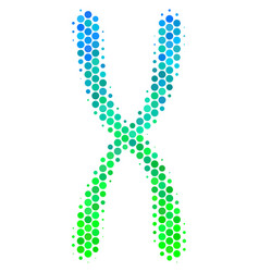 Halftone blue-green chromosome icon vector