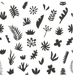 Hand drawn botanical doodles seamless pattern vector