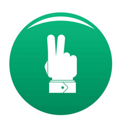 hand hey icon green vector image