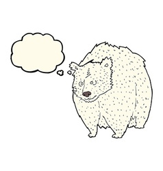 Huge polar bear cartoon with thought bubble vector