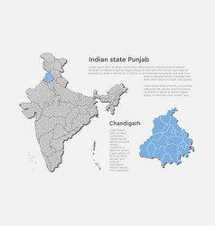 India map country state punjab template vector
