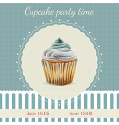 Invitation template with watercolor cupcakes vector image
