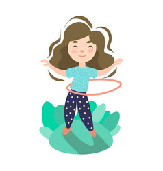 little girl doing exercise with hoop summer kids vector image
