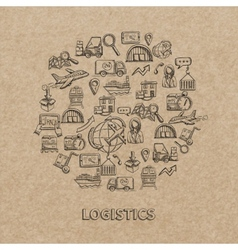 Logistic Sketch Icons vector