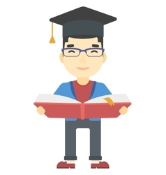 Man in graduation cap holding book vector image