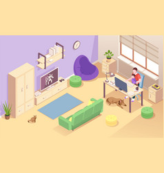 man or father with child working at home vector image