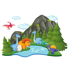 Many dinosaur in nature vector