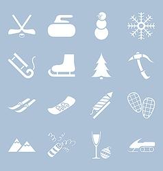 Many icons winter holiday vector