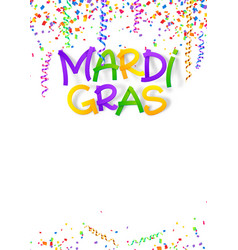 mardi gras traditional colors sign on confetti and vector image