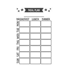 Meal plan template vector
