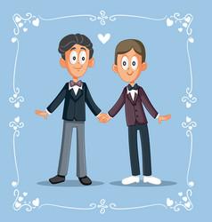 Men in love getting married wedding invitation vector
