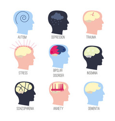 mental disease icon set vector image