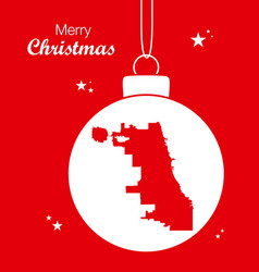 Merry christmas theme with map of chicago vector