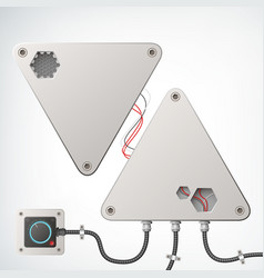 Metallic technical industrial box composition vector
